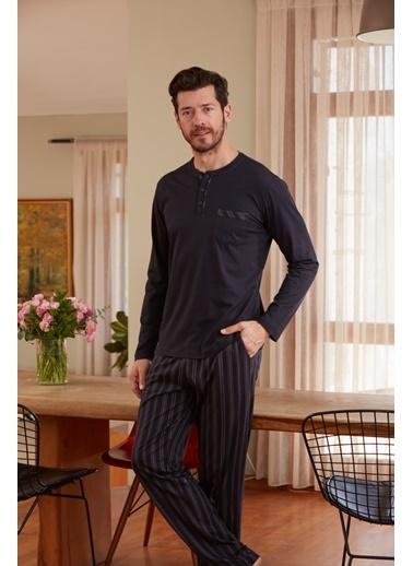 Eros O Patlı Uzun Kollu Pijama Takımı Siyah